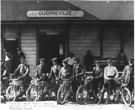 Early Shot of the Excelsior Motorcycle Club outside the old Guerneville train platform